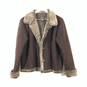 Vintage Barrage Faux Suede Fur Trim Jacket Coat